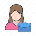 briefcise, female, portfolio, suitcase, woman with briefcase icon