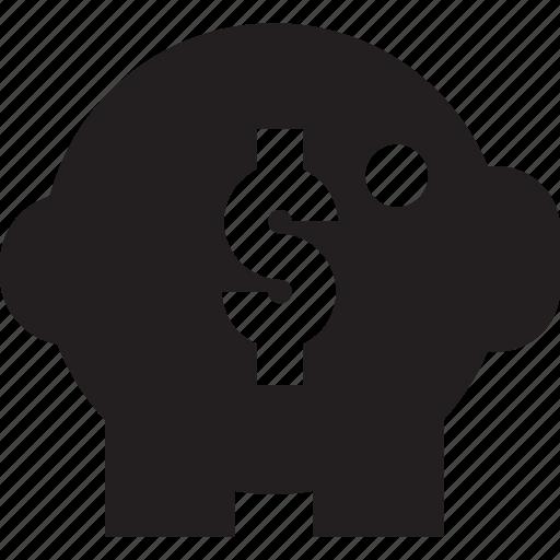 bank, dollar, piggy bank icon