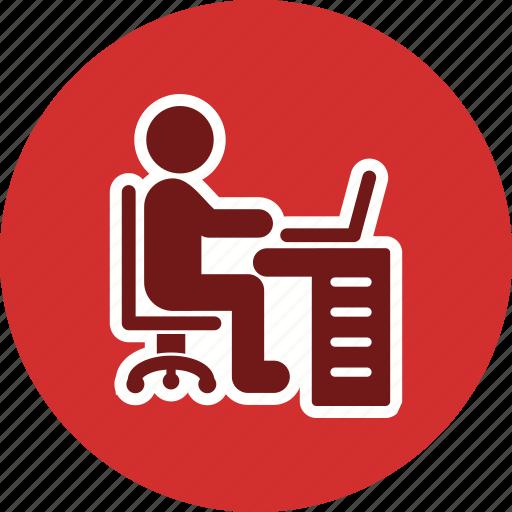 using laptop, working, workspace icon