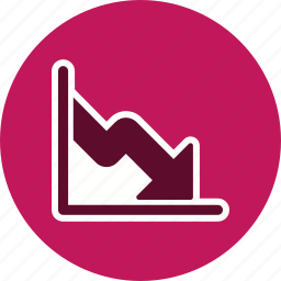 business fall, financial, graph, low business, statistics icon