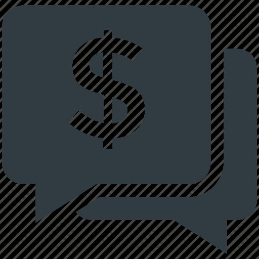 bubble, chat bubble, dollar, message, sale offer icon