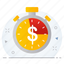 business, dollar, investment, management, money, time icon