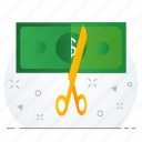 business, currency, cut, cutter, dollar, rate icon