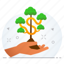 business, grow, growth, money, plant, save icon