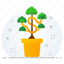 business, grow, growth, money, plant icon