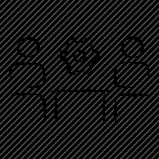 business, gear, hand drawn, strategy, teamwork icon