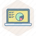 analysis, chart, diagram, graph, presentation, screen, tablet icon