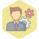 business, control, gear, man, management, options, settings icon