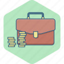 bag, briefcase, business, coins, funds, money, revenue icon