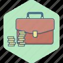 bag, briefcase, money, business, coins, funds, revenue