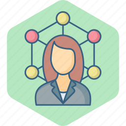 connection, female, link, media, network, social, woman icon