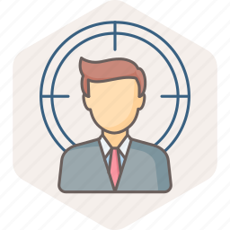 business, customer, focus, male, man, seo, target icon