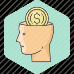 brain, business, cash, mind, minded, money icon