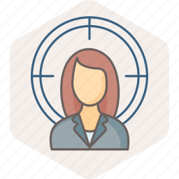 business, focus, office, profile, target, user, woman icon