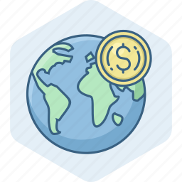 country, currency, dollar, earnings, money, overseas, value icon