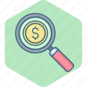 business, cash, dollar, invest, investment, money, search icon
