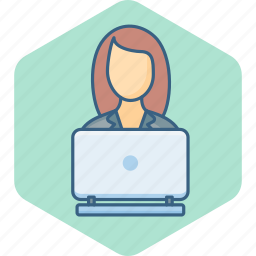 busy, cybercafe, office, user, woman, work, working icon