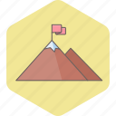 business, flag, hill, milestone, milestones, mountain, work icon