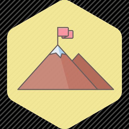 business, flag, hill, milestone, milestones, mountain, work icon