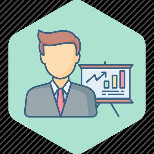 analysis, business, chart, diagram, employee, presentation, report icon