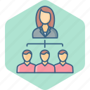 business, group, hierarchy, management, people, structure, team icon