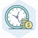 alarm, business, cash, clock, money, payment, timely icon
