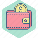 cash, dollar, finance, guardar, save, saving, savings, wallet icon