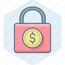 currency, dollar, lock, password, safety, secure, security icon