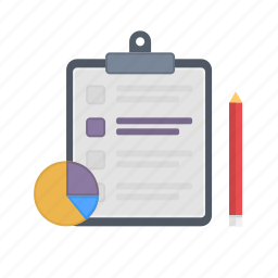 checklist, note, notebook, pencil, statistics icon