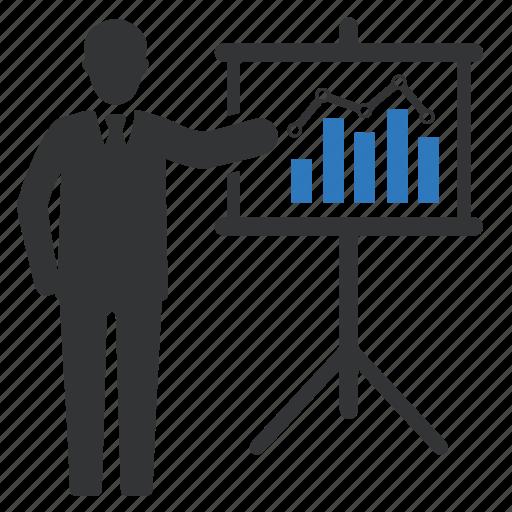 analytics, business presentation, businessman, graph, report, statistics icon