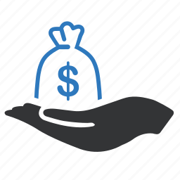 dollar, hand, money icon