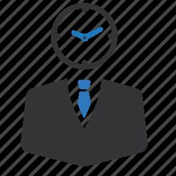 business, businessman, clock, deadline, finance, office, time icon