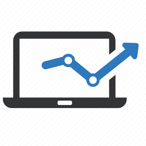 analytics, computer, graph, laptop, monitoring, report, statistics icon
