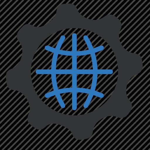 earth, gear, global, globe, options, settings, world icon