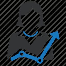 analytics, chart, increase, money, sales, statistics, woman icon