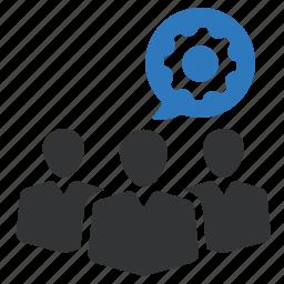 business, businessman, cog, gear, men, team, teamwork icon