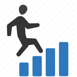 business success, businessman, running, stairs icon
