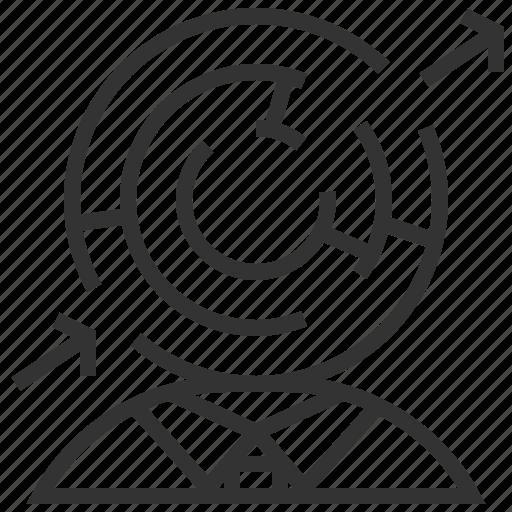 arrow, exit, labyrinth, maze, navigation, sign icon
