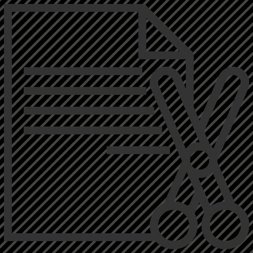 document, edit, extension, files, paper, scissors icon