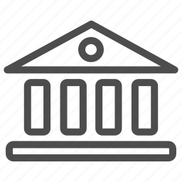 bank, building, business, columns, greece, office icon