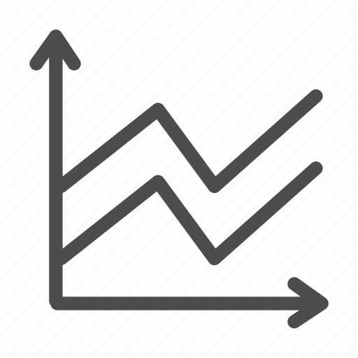 arrows, business, coordinates, graph, growth, line, schedule icon