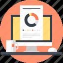 analytics, chart, computer, graph, job, office, work icon
