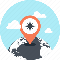 gps, location, map, marker, navigation, pointer, world icon