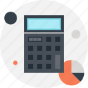 accounting, budget, calculate, calculator, chart, finance, math icon