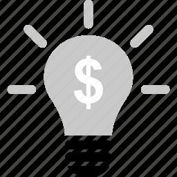 brilliant, business, dollar, idea, online, web icon