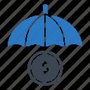 business, insurance, money, protection, umbrella icon