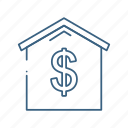 bank, business, dollar, house, money icon