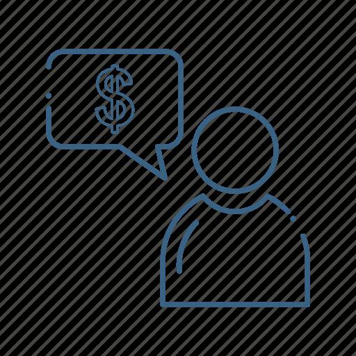 avatar, dollar, idea, user icon