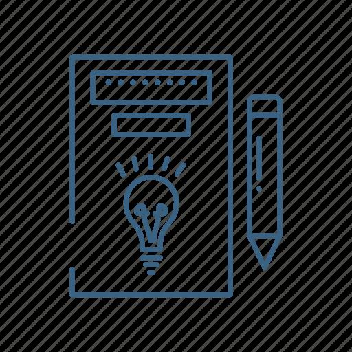 document, idea, paper, pencil icon