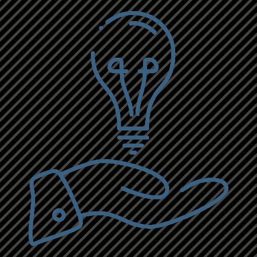 bulb, creative, hand, idea icon